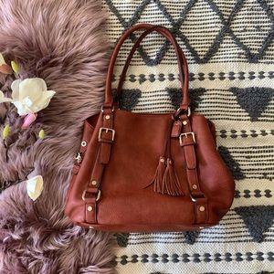 Clarks▪️Burnt Cognac Leather Shoulder satchel. OS